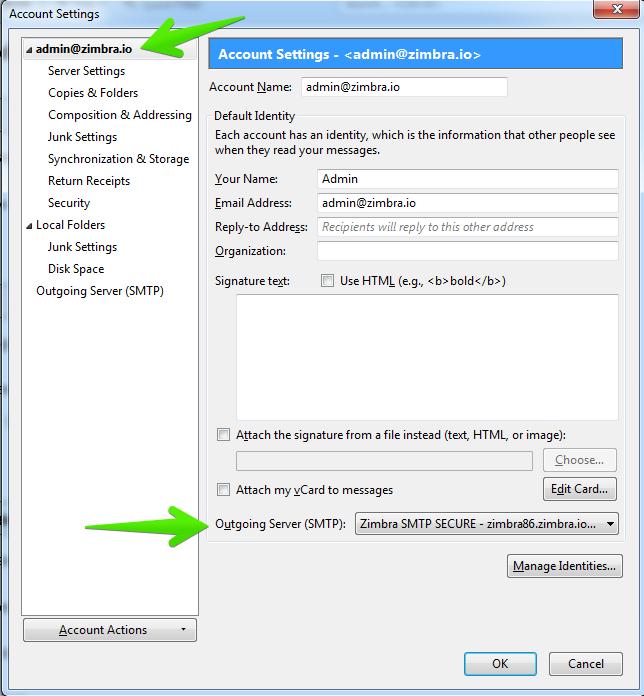 Accessing Zimbra Collaboration Server with Thunderbird