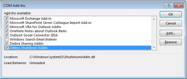 How to permanently disable zimbra Add-ins (Outlook) - Zimbra :: Tech