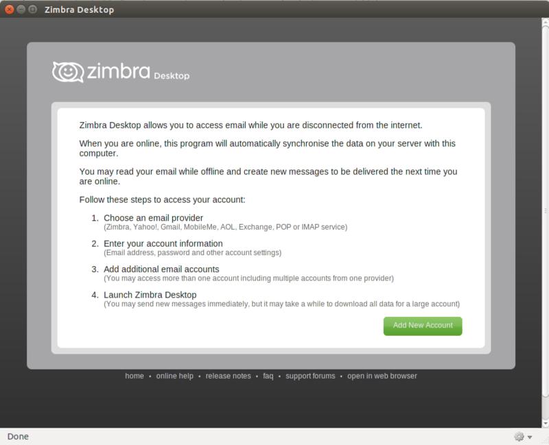 Installing Zimbra Desktop 7 on Ubuntu Desktop 64bits - Zimbra