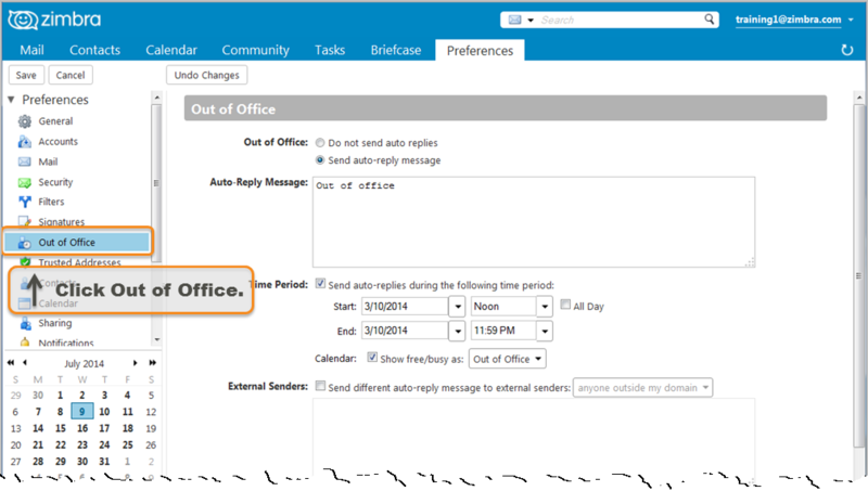 Creating An Out Of Office Message Zimbra Tech Center