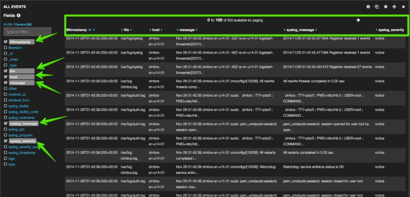 Centralized Logs - Elasticsearch, Logstash and Kibana - Zimbra